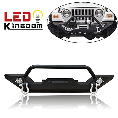 LEDKINGDOMUS TJ YJ Jeep Wrangler Front Bumper with Winch Plate and LED Lights