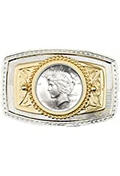 """U.S. Silver Dollar Belt Buckle 3-3/8"""" x 2-1/4"""" - Silver & Gold Plated - with a Brilliant Uncirculated Peace Type Silver Dollar - Made In USA"""