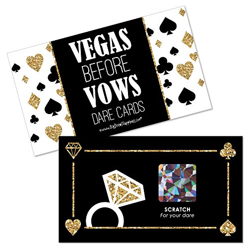 Big Dot of Happiness Vegas Before Vows - Las Vegas Bridal Shower or Bachelorette Party Game Scratch Off Dare Cards - 22 Count