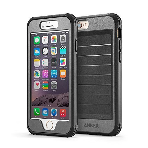 Anker iPhone 6s Case, Ultra Protective Case with Built-in Clear Screen Protector for iPhone 6 / iPhone 6s (4.7 inch), Dust Proof Design (Black/Grey)