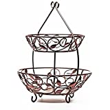 """Circleware MATTE BRONZE Metal 2 Tier Fruit Bowl With Leaf Design w/ 12"""" plate - 17""""D x 21""""H"""