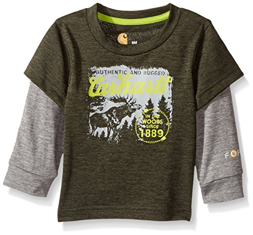 (Carhartt Baby Boys' Little' Long Sleeve Tee Shirt, in The in The Woods Dark Green, 6M)
