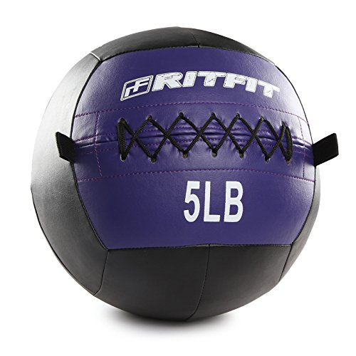 RitFit Soft Medicine Ball/Wall Ball for Strength and Conditioning Workouts, Core Training (Purple(5.0 pounds)) ()