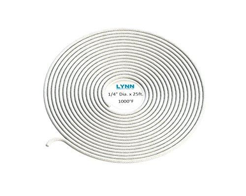 (Lynn Manufacturing High Temperature Gasket Rope, 1000F, White, Boiler & Furnace, 1/4'' Diameter x 25ft)
