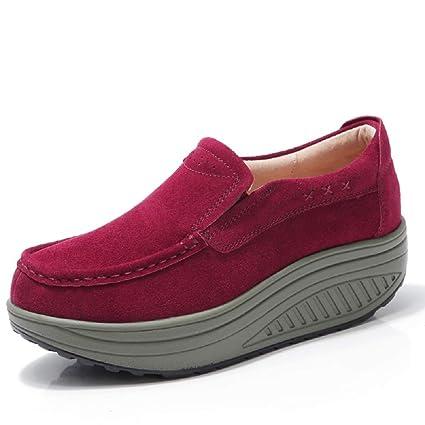 ZHRUI Zapatos de Piel Suave de Mujer Rocker Sole Mocasines Casaul (Color : Rojo,