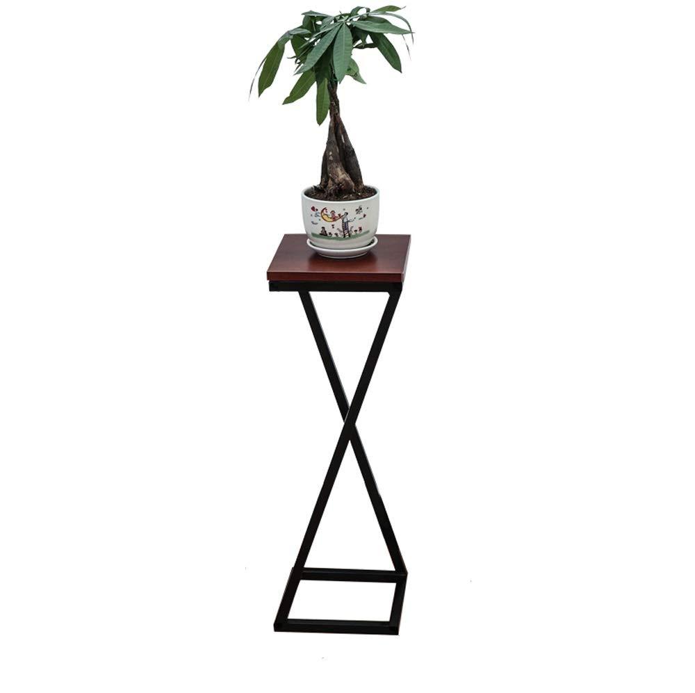 HU Flower Frame in Ferro battuto Multi-Layer Soggiorno Balcone Carnosa Flower Pot Rack Floor Floor Flower Stand (colore   nero Frame Marronee Board, Dimensioni   B)