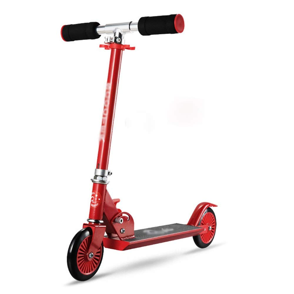 FDSjd Scooter Collapsible Lift Scooter Two-Wheeled Scooter Beginner Big Boy Comfortable Sliding Scooter (Color : Red)
