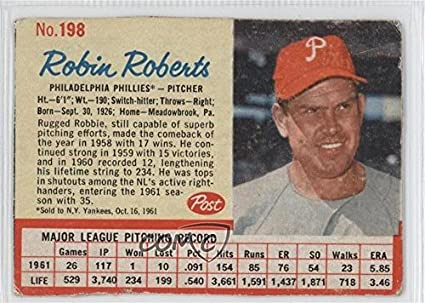 Amazoncom Robin Roberts Baseball Card 1962 Post Base