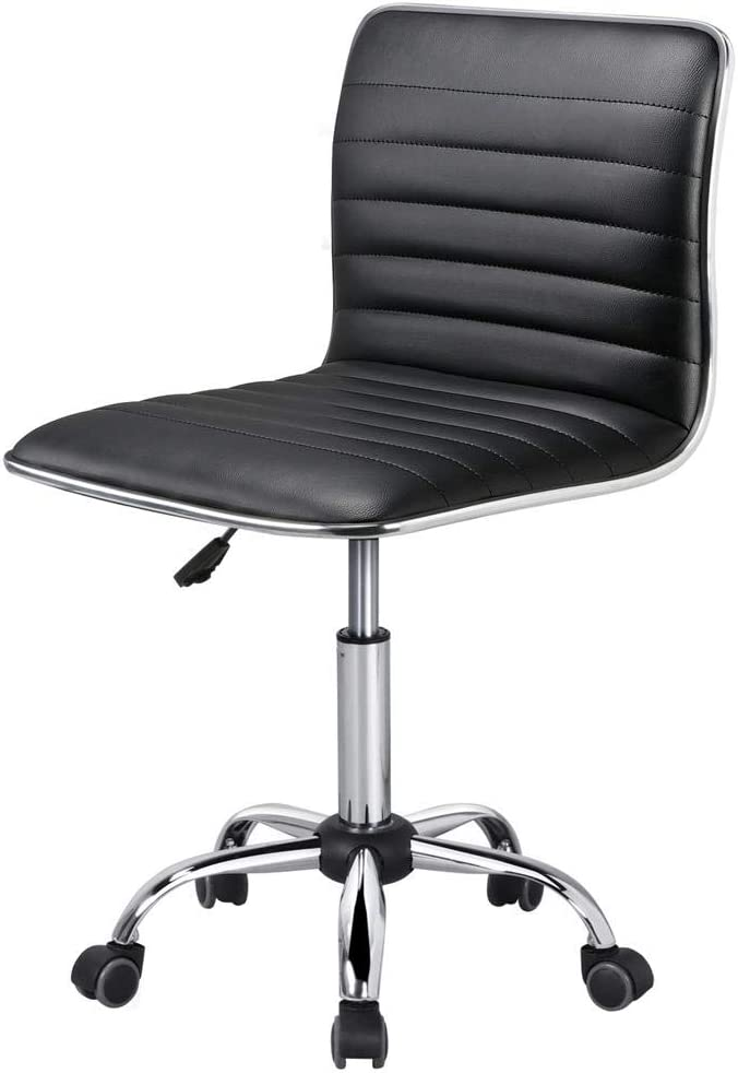 Yaheetech Armless Office Chair Ribbed Faux/PU Leather Swivel Computer/Desk/Task Chair Mid-Back Adjustable Makeup Stools on Wheels Black
