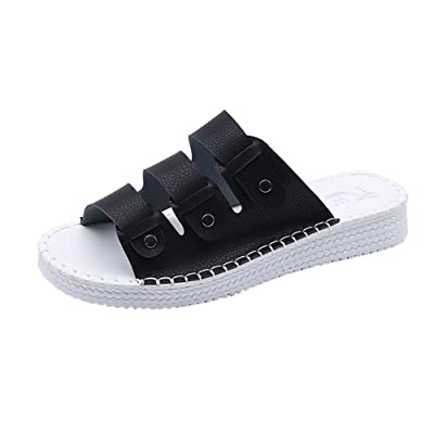 Summer Open Toe Leather Casual Beach Chic Women Flat Sandals Slippers Shoes