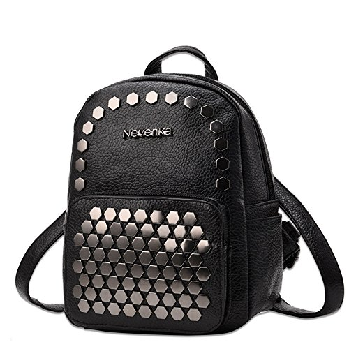 4bfe4d872 Nevenka Women Soft Faux Leather Backpack Purses Cute Little Bags for Young  Girls (BLACK)