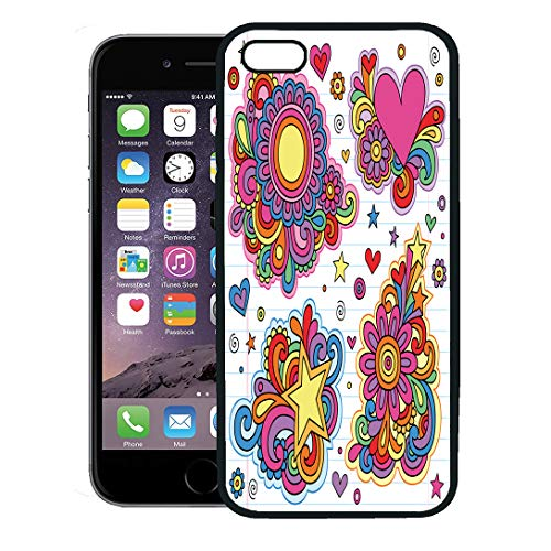 Semtomn Phone Case for iPhone 8 Plus case,Flower Groovy Psychedelic Doodles on Lined Sketchbook Hippy Heart 1970S iPhone 7 Plus case Cover,Black