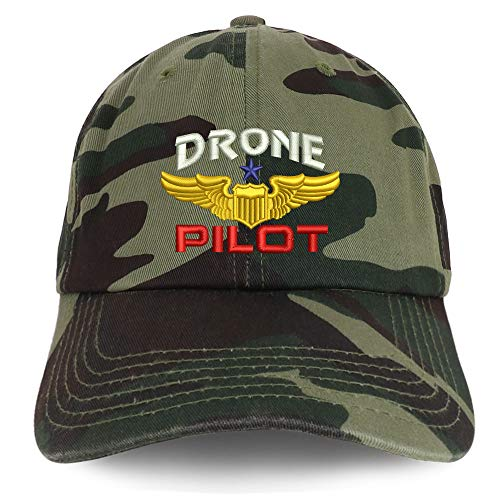 Trendy Apparel Shop Drone Pilot Aviation Wing Embroidered Soft Crown 100% Brushed Cotton Cap - CAMO