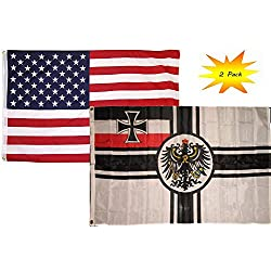 ALBATROS 3 ft x 5 ft 3x5 Set (2 Pack) USA American with German Imperial WWII Flag Banner for Home and Parades, Official Party, All Weather Indoors Outdoors