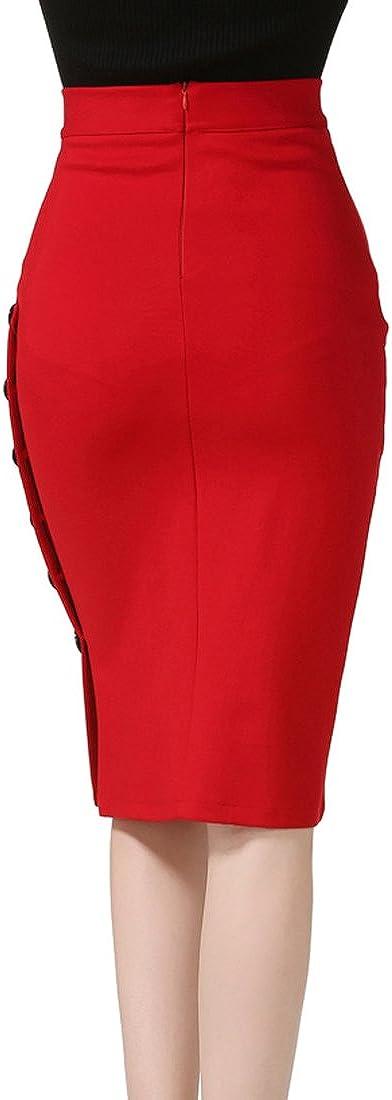 TEERFU Jupe Crayon Moulante Extensible Taille Haute Longueur au Genou pour Femme