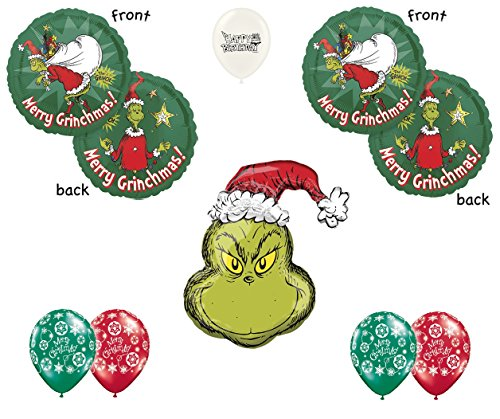 Ballooney's Dr. Seuss How the Grinch Stole Christmas Party Decoration Balloon Bouquet Grinch Christmas Party