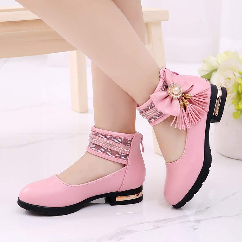Sandales Ballerine Fille Chaussures de Princesse Pearl Bowknot Uni Sandales Bride Cheville Enfant Chaussures de Danse Chaussure /à Talon Chaussure Bateau Ceremonie Mariage BaZhaHei