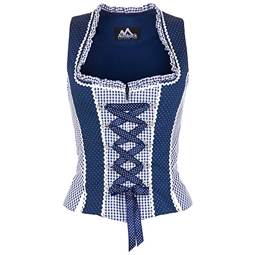 Almbock Trachtenmieder Lorena blau-weiß kariert in Gr. 34 36 38 40 42 - Trachten-Mieder für Damen - klassisch, bayerisch, hochwertiges Trachten-Mieder