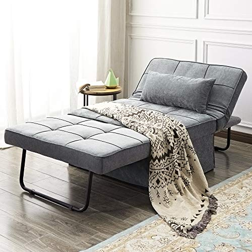 Vonanda Ottoman Folding Chair Bed, Modern Velvet Sleeper Sofa Multi-Position Convertible Couch Lounger Guest Bed with Pillow for Small Space, Velvet Gray