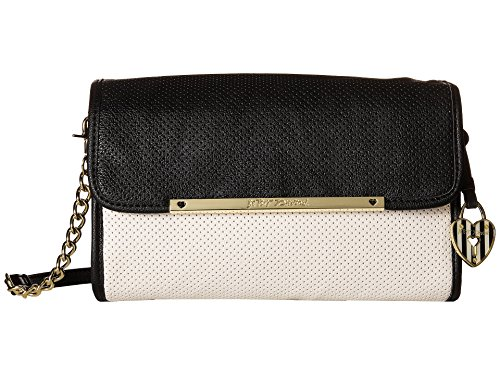 Betsey Johnson Women's Flap Crossbody w/ Partial Chain Black/White Cross - Flap Chain Betsey