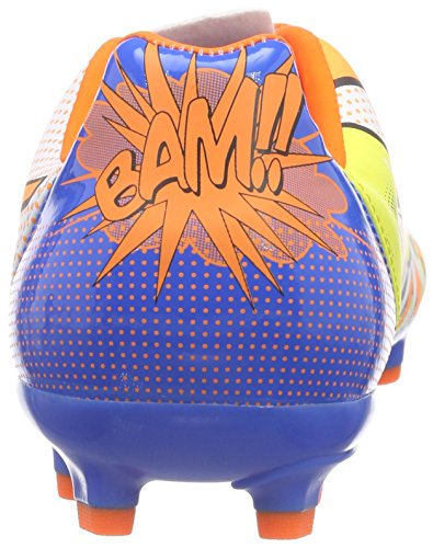 Puma evoPOWER 4.2 POP AG Unisex-Kinder Fußballschuhe Mehrfarbig (white-orange clown fish-electric blue lemonade 01)