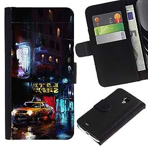 LECELL--Cuero de la tarjeta la carpeta del tirón Smartphone Slots Protección Holder For Samsung Galaxy S4 Mini i9190 -- Nueva York Yellow Cab --