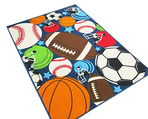 HUAHOO Blue Kids Rug Fun Sport Rugs Nylon Carpet Boys Girls Childrens Rug Balls Print with Soccer Ball, Basketball, Football, Tennis Ball Bedroom Playroom (80x120cm(31.5''x47''))