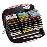 Womens RFID Blocking Leather Huge Capacity Wallet Passport & Multi Credit Cards Organizer Pink