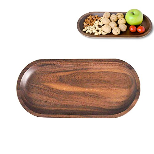 Solid Wooden Serving Tray,Decorative Trays,Serving Platters for Food Tea Coffee Wine Premium Quality, Eco-friendly, Oval-Shaped - Black Walnut (Large) ()