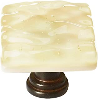 """product image for Sietto K-222-ORB - Sietto Glacier Collection 1-1/4"""" Pale Yellow Knob - Oil Rubbed Bronze Base"""