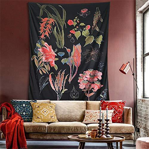 (PYHQ Flowers Black Tapestry Wall Hanging Urban Hippie Bohemia Boho Art Polyester Fabric)