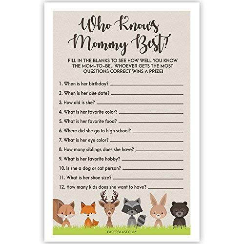 Woodland Creatures Baby Shower Game Who Know Mommy Best