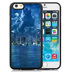 Beautiful Designed Antiskid Cover Case For iPhone 6 4.7 Inch TPU Phone Case With City Lights At Night Blue Sea_Black Phone Case