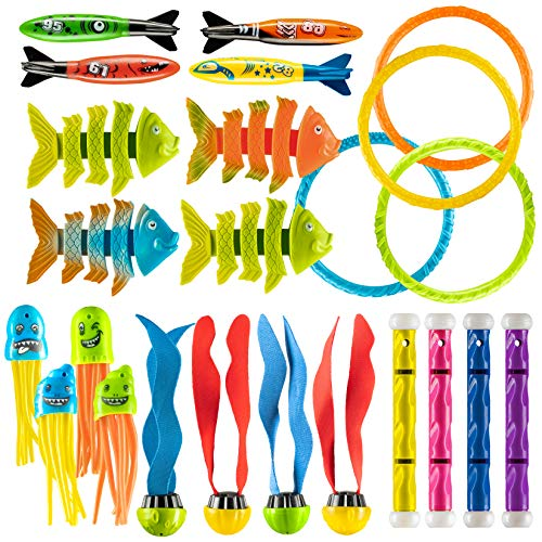 Prextex 24 Piece Diving Toy Set Summer Fun Underwater Sinking Swimming Pool Toy for Kids -