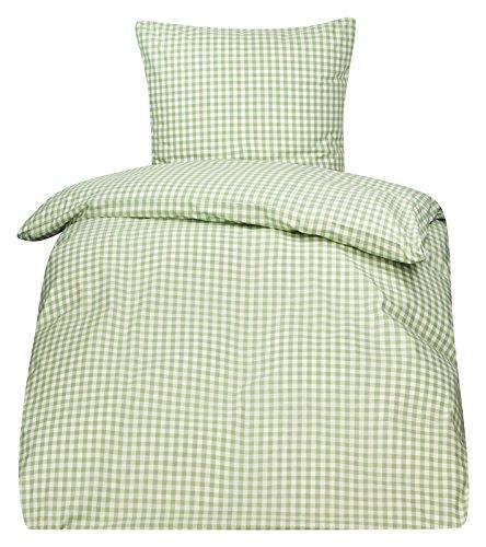 Bettwäsche Serie Züchen Landhaus Karo Reißverschluss 95° waschbar (Garnitur 135x200 / 80x80, weiß / grün)