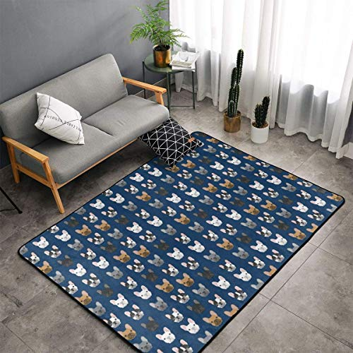 French Bulldog Navy Blue Area Rugs, Bedroom Living Room Kitchen Mat, Floor Mat Doormats Nursery Rugs, Children Play Rug Carpet Bath Mat, Throw Rugs Carpet Yoga Mat
