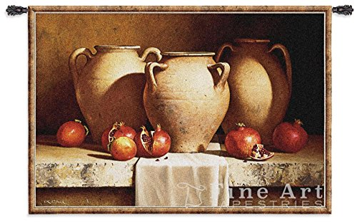 Pure Country Weavers Fine Art Tapestries Urns with Pomegranates Hand Finished European Style Jacquard Woven Wall Tapestry 100% Cotton USA Size 36x53 Woven to Last A Lifetime