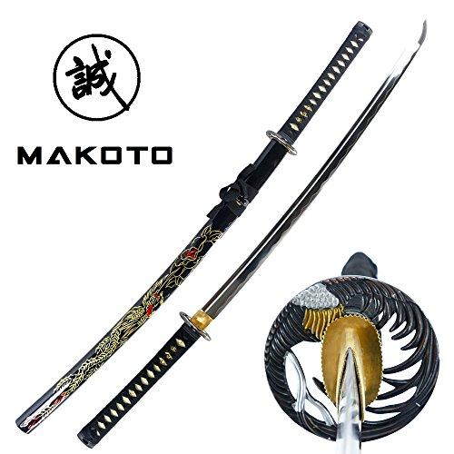 Makoto Hand Forged Razor Sharp 41  Black Samurai Katana Sword   Hand Painted Golden Phoenix On Scabbard