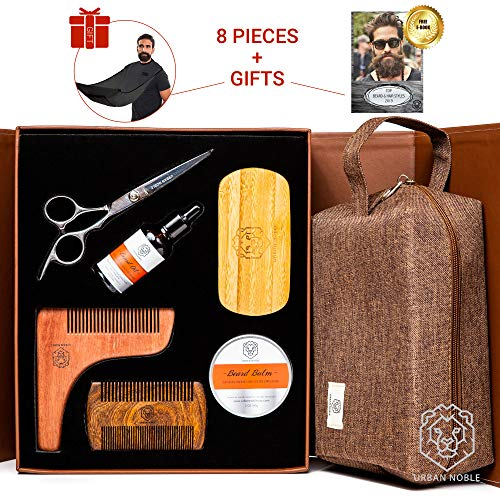 Premium Beard Grooming Kit for Men Gift Set- Beard Oil Growth & Organic Balm For Man - Wooden Beard Brush and Comb Set - Mens Black Beard Bib - Beard Care Gift Set for Men/Fathers day, Valentines