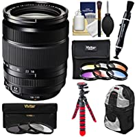 Fujifilm 18-135mm f/3.5-5.6 XF R LM OIS WR Zoom Lens with 3 UV/CPL/ND8 & 6 Colored Filters + Backpack + Tripod + Kit