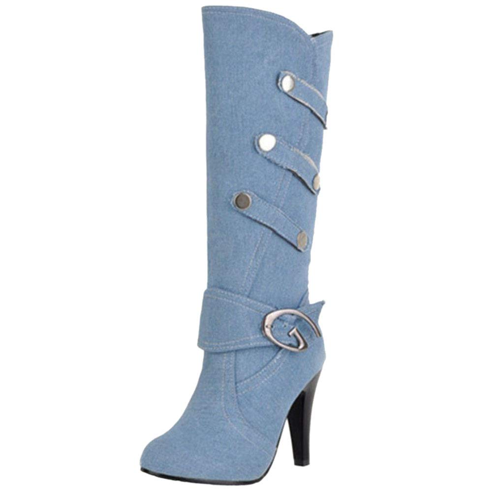 JOJONUNU Femmes Stiletto Mi-Mollet JOJONUNU Bottes Stiletto Light Light Blue 434023e - gis9ma7le.space