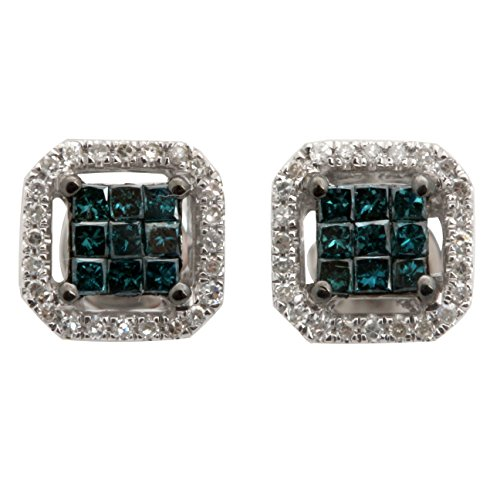 Brand New 0.32Ct Princess Cut Blue Diamond With Round Diamond Designer Stud Earring, 10k White Gold by Prism Jewel