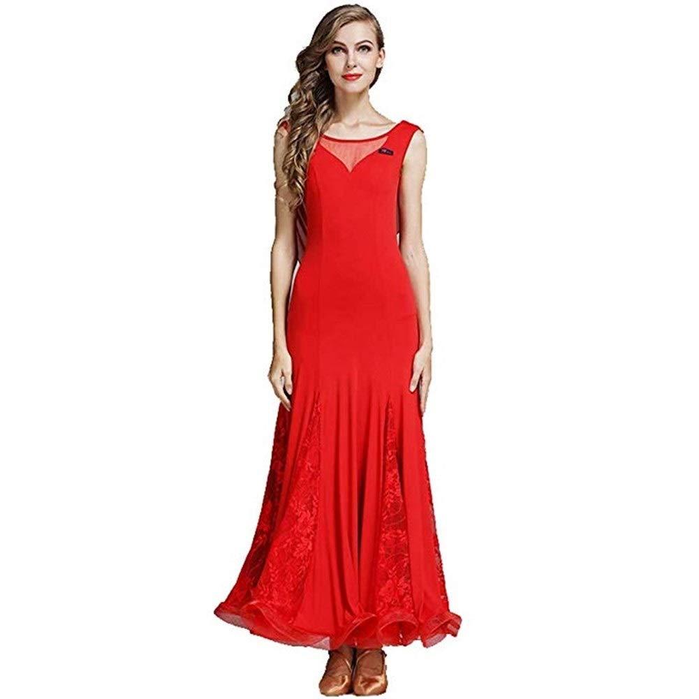 rouge S Robe De Danse Frontale Sexy sur La Poitrine, Robe De Jupe De Danse Moderne for Adultes, Danse De Salon, Danse De Salon, VêteHommests De Pratique