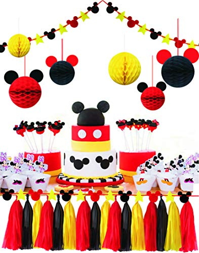 - ZOIN Party Supplies Honeycomb Balls Stars Garland Banner Tissue Paper Tassels for Mickey Minnie Theme Party Birthday Baby Shower Decoration Kits (Red Yellow Black)