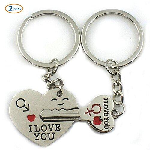 OliaDesign World Pride Key to My Heart Cute Couple Love Keychain Ring (arrow)