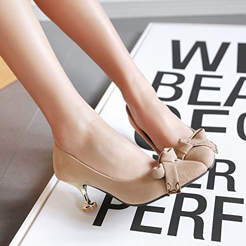 Pumps Shoes Schleife Mee Damen Stiletto Aprikose Nubukleder XwBHxzqHd