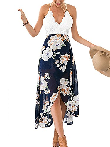 Famulily Women's V-neck Lace Patchwork Irregular Hem Floral Halter Maxi Dress (Halter Womens Maxi Dress)