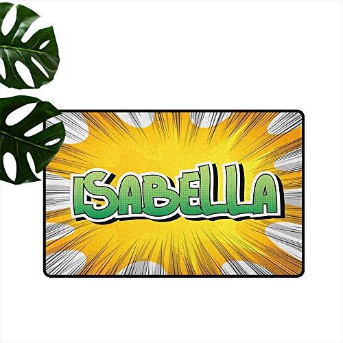 - Isabella,Kitchen Rugs American Birth Name on Retro Style Fun Cartoon Backdrop Poster Design 24