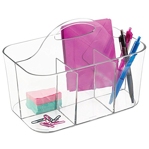 mDesign School Supplies Desk Organizer Tote for Scissors, Pens, Pencils, Notepads, Markers, Highlighters, Tape - Small, Clear by mDesign