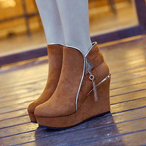 KHSKX-New Short Boots And Short Boots Women Autumn And Winter Sanding Slope And Short Zipper Side Zipper Thirty-eight G0eNlzK